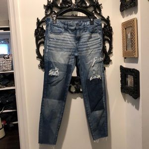 American Eagle Patchwork Rip 360 Stretch Jegging